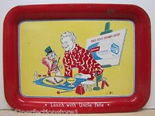 Old Supreme Bread Advertising Metal Tray Sign 'Lunch with Uncle Pete' 1950s tv