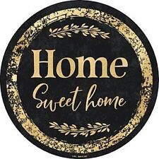 """Home Sweet Home Black Gold 12"""" Round Metal Sign Novelty Retro Home Wall Decor"""