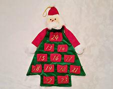 VINTAGE CHRISTMAS SANTA CLAUS RED GREEN VELVET WALL ADVENT CALENDAR ORGANIZER