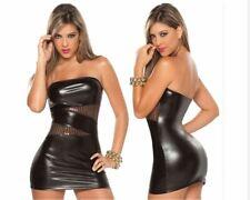 Damen Schwarz Sexy Spitze Leder Kleider Trägerlosen Latex Kostüme PVC Mini