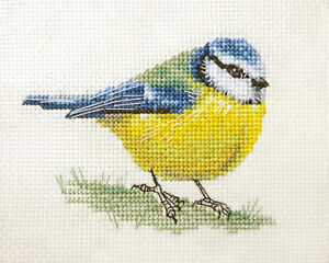 BLUE TIT Garden Bird  Full counted cross stitch kit with all materials Fido