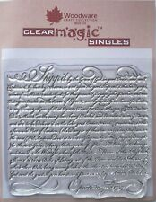 Woodware Clear Acrylic Stamp VINTAGE SCRIPT background Shipped Oporto