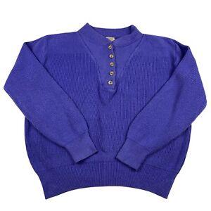 L.L. Bean Henley Jumper Ladies Medium Blue Oversized Pullover Button Up Sweater