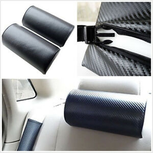 2 X Carbon Fiber Embroidery Car Off-Road Rest Relax Cushion Headrest Neck Pillow