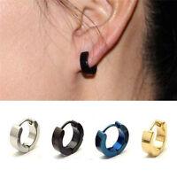 1 Pair PUNK Men Women Hoop Ear Stud Stainless Steel Earring Hoop Piercing Fw