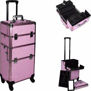 2 in 1 Rolling Makeup Case Aluminum Hair Stylist Train Trolley 4 Wheel Organizer
