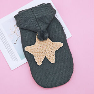 Pet Cat Dog Sweater Coat Knitted Puppy Sweater Hoodie with Stars Printed XS-XL