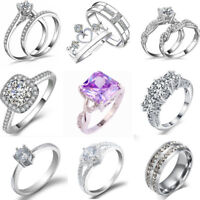 Fashion Women's 925 Silver Plated Jewelry Wedding Engagement Crystal Ring UK New