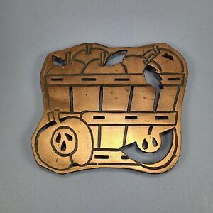 Vintage Action Copper Trivet Apple Basket