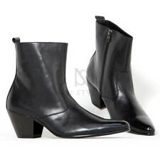 NewStylish Mens Shoes Black Leather Western High Heel Boots