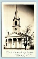 Evans, Derby, NY - EARLY 1900s VIEW OF FIRST CHURCH - PHOTO RPPC