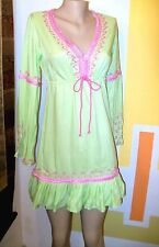 NWOT VICTORIA'S SECRET MINI CAFTAN TUNIC DRESS,  XS / (0-2),  Kiwi/Pink
