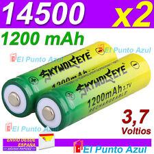 2 Baterias 14500 Recargable  Li-ion - Litio ★ 1200mAh ★ 3,7 voltios★