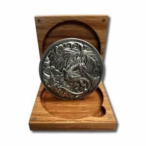 10  oz. Dragon vs.Viking .999 Fine Silver Ultra High Relief In a Solid Oak Box