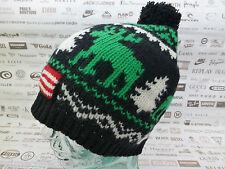 POLO RALPH LAUREN Wool Beanie REINDEER Oversize Cap Black Bubble Hat BNWT RRP£85