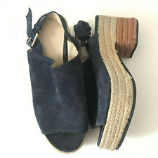Bimba Y Lola Wedge Sandals Sz 37 US 7 Blue Suede Peep Toe Slingback Platform