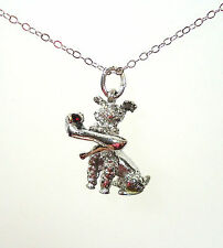 VTG Sterling Necklace 3D Dog Poodle Pendant with Lady Pump Shoe in his Mouth