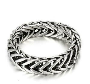 17MM Cool Curb Chain Bracelet Stainless Steel Silver Color for Men 8.66'' 121g