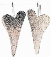 """925 Solid Sterling Silver Brushed Satin Matte Finish HEART Earrings LOVE 1.26"""""""