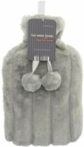 Icy Grey Large 2L Natural Rubber Hot Water Bottle & Faux Fur Fleece Cover Adult