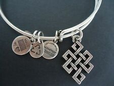 Alex and Ani ENDLESS KNOT Russian Silver Charm Bangle New W/ Tag Card & Box