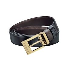 S.T. Dupont 30mm Reversible Black Leather Belt, Yellow Gold Buckle, 7910120, NIB