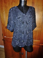 Vtg 80s NOIR SEQUIN Beads Embroidered SILK XL Evening Formal Party TOP BLOUSE