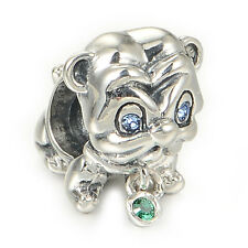 Pug Puppy Dog Charm Bead - Genuine Sterling Silver - Halloween Christmas Gift