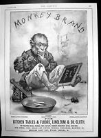 Original Old Antique Print Brookes Monkey Brand Soap Monkey Writing Slate 1899