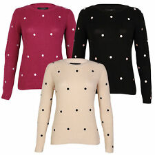 Cotton Crew Neck Spotted Jumpers & Cardigans for Women