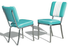 2 US 1950 Retro Vintage Style Diner Restaurant Kitchen Furniture Chair CO24 Turq
