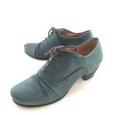 Biala Shoes 38/8 Green Leather Lace Up Low Heel 20's 30's Retro Loafer Womens