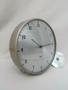 "80s BRITISH GENT WALL CLOCK, Vintage GREY ROUND METAL, Retro 12"" FACTORY QUARTZ"