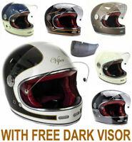 VIPER F656 RETRO VINTAGE FIBREGLASS FULL FACE  MOTORCYCLE HELMET WITH DARK VISOR