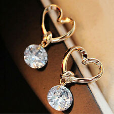 Women Silver Plated Ear Hook Ear Stud Crystal Rhinestone Earrings BDAU