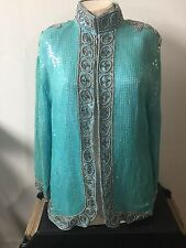 Vintage Silk Sequin Beads Rayon Womens Coat Blouse Long Size Large ?