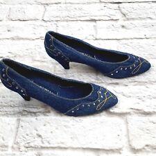 Imperial Vintage Women's Classic Heels Pumps Blue Denim Studded size 7