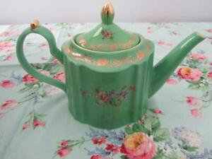 Unused Vintage Fine China TEAPOT Green Gold Detail