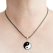 Yin Yang Charm Pendant Necklace with Black Cord Ying Yang