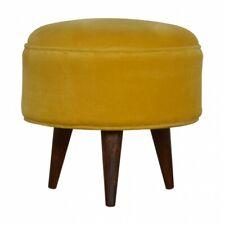 Velvet Pouffe Footstool - Mustard