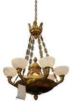 Bronze Empire Chandelier, Antique French, with Alabaster Shades 4943