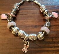 Snake Chain Slider Charm Bracelet Pink Breast Cancer Ribbon Heart Silver Tone