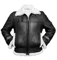 Men's Aviator RAF B3 Sheepskin Fur Shearling BLACK Leather Bomber Flying Jacket
