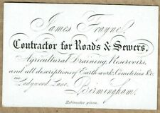 James Frayne, Road contractor, Birmingham - Original 1870s Business Card