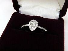 Natural Pear Shape Diamond Halo Engagement Promise Ring 10k White Gold Size 6