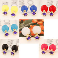Lots1Set 7Pair Candy Rainbow Double Side Two Ball Earring Stud Rhinestone Zircon