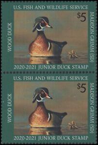 US JDS28 Junior Duck Wood duck vert pair (2 stamps) MNH 2020-2021