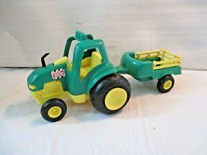 Hasbro 1996 Plastic Tonka Garden Farm Tractor + Cart Pretend Play Playset