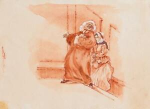 Marshall Goodman, Up the Stairs to Courtroom, Watercolor on Paper