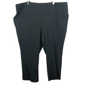 Catherines Pull On Dress Pants Womens 5X PETITE Black Refined Straight 5XWP